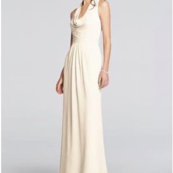 fe1612d958 David s Bridal cowl long chiffon bridesmaid dress